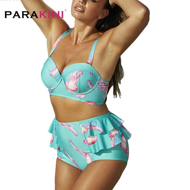 f2b62c1b9aed PARAKINI 2018 nuevo traje de baño talla grande 3XL para mujer traje de baño  de cintura alta traje de baño estampado Floral Biquini Push Up Bikinis ...