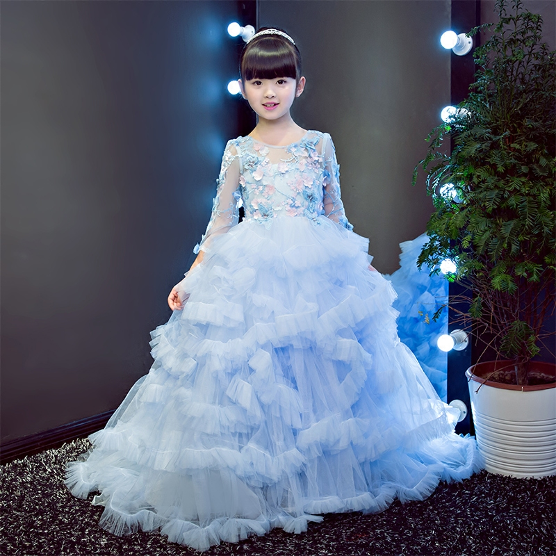 European baby girls elegant lace flowers dresses children long tailing evening ball gown birthday party wedding christmas dress