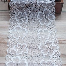 1Yard 18.5cm Width Nylon White Elastic Lace Trim For DIY Clothing Accessories Sewing Appliques French Net Stretch Trimmings