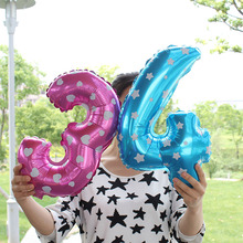 100% good quality 16inch nubmer balloons 100pcs/lot pink/blue Number air-filled Auminum foil Ballon for Birthday Wedding Party