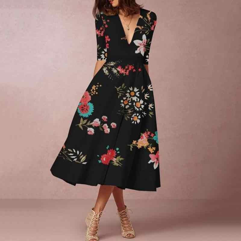 Женское платье с цветочным принтом офисное макси v образным вырезом и рукавом