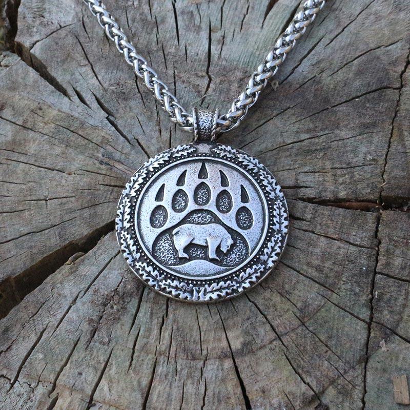 lanseis 1pcs Viking bear paw pendant slavic bear talisman chrm pagan men necklace Nordic pendant.Celt talisman