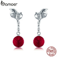 BAMOER Summer Collection 100 925 Sterling Silver Summer Fruit Red Crystal Drop Earrings For Women Fine