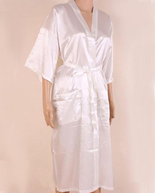 New Style branco homens chineses de seda Rayon Robe Kimono Bath vestido de verão Sleepwear casuais cor sólida pijamas Plus Size XXXL NM012