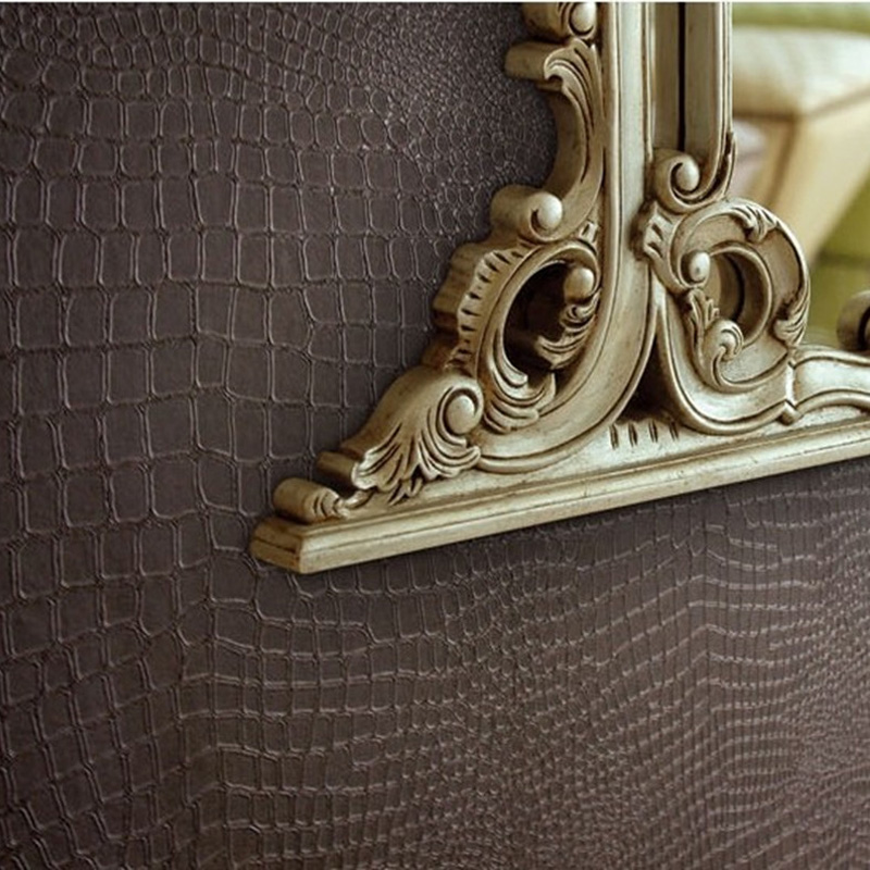 Modern embossed 3d wallpaper faux leather wall paper roll for Wallpaper pvc 3d