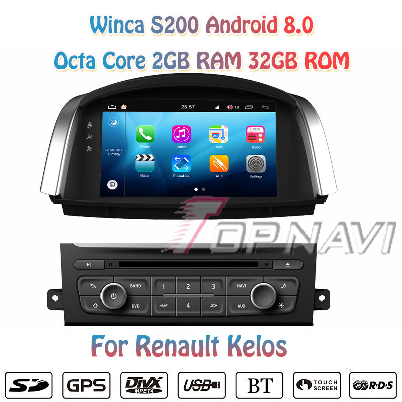 Topnavi 8'' Octa Core S200 Android 8.0 Car DVD Multimedia Player for Kelos Radio Stereo Two DIN GPS Navigation In Dash