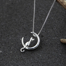 SMJEL New Cute Animal Cat Moon Pendant Necklace for Women Kitten Necklace with Cats Accessories Jewelry Collier Party Gifts