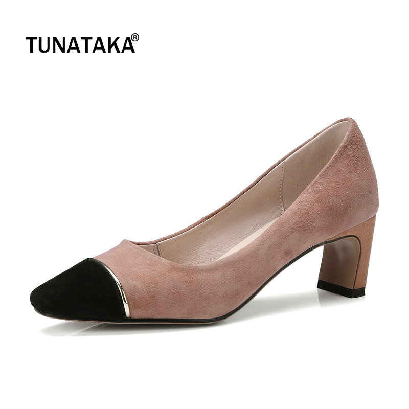 Suede Comfort Square Heel Woman Lazy Pumps Fashion Mixed Color Square Toe Dress High Heel Shoes Woman Black Gray Pink