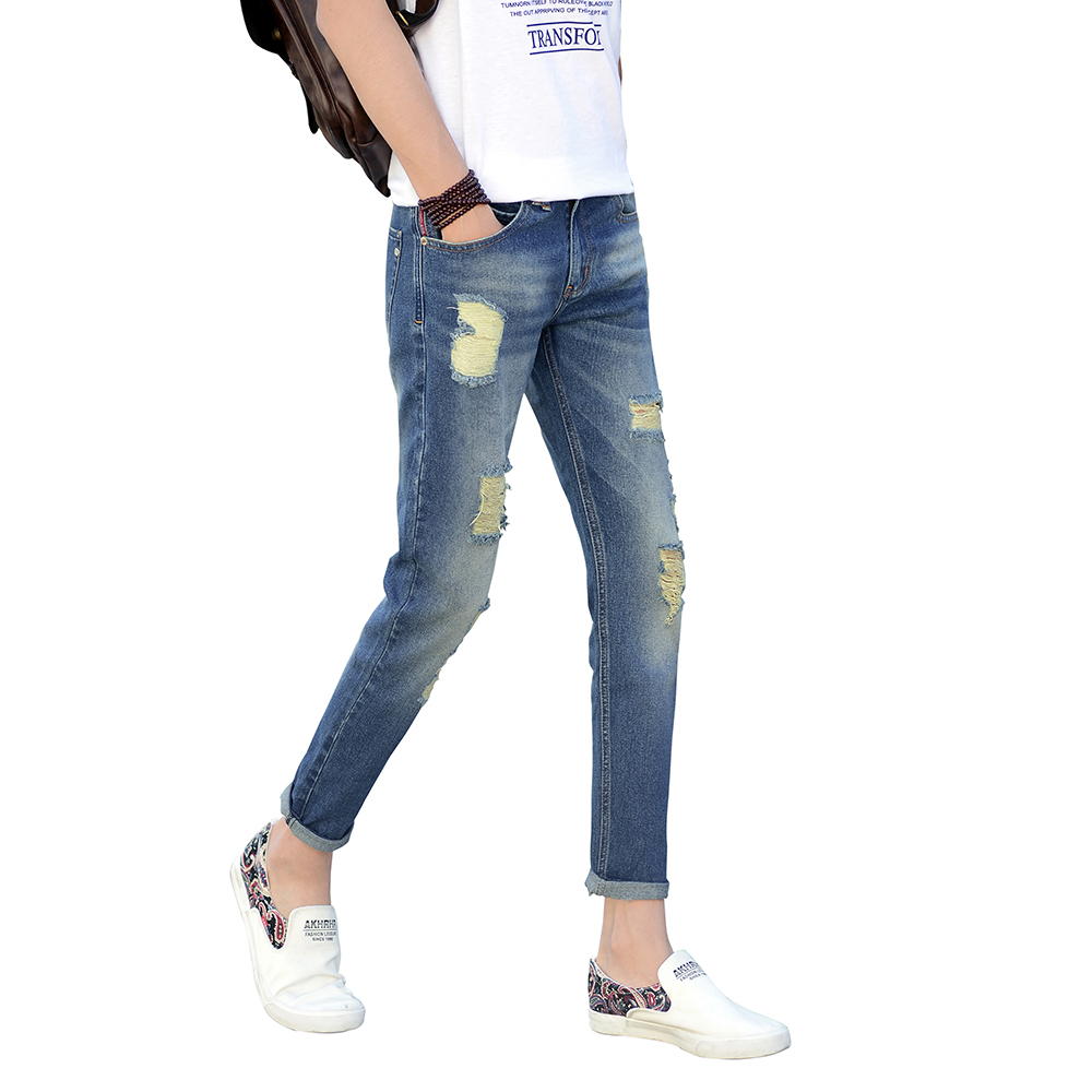 Ankle Jeans Men Light Blue Denim Slim Fit Jeans For Men Comfort Skinny Jeans Trousers Pa ...