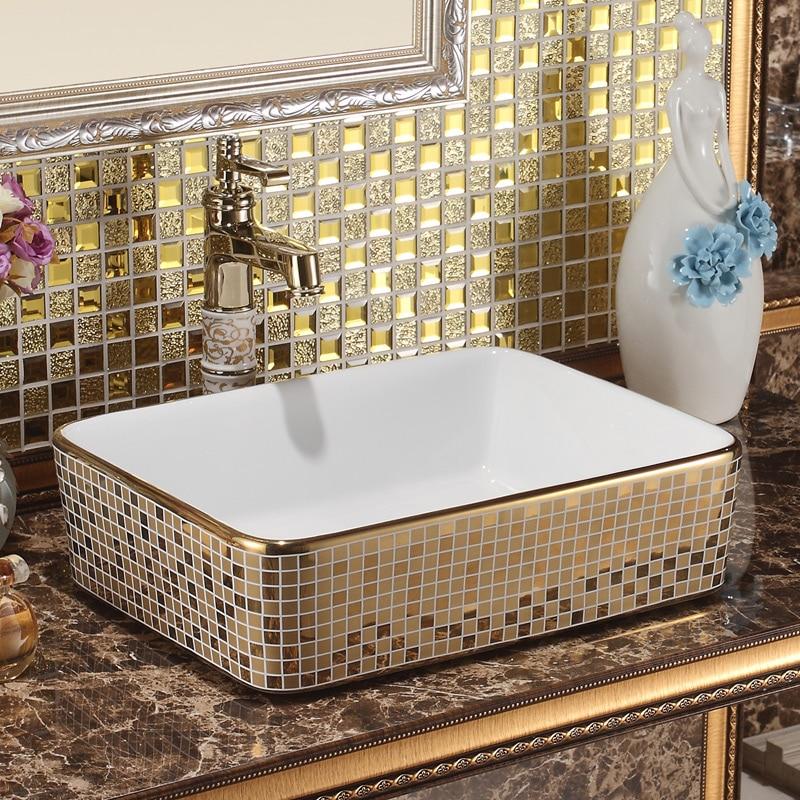 Jingdezhen ceramic sanitary table square wash basin wash basin wash basin titanium mosaic art basin wash
