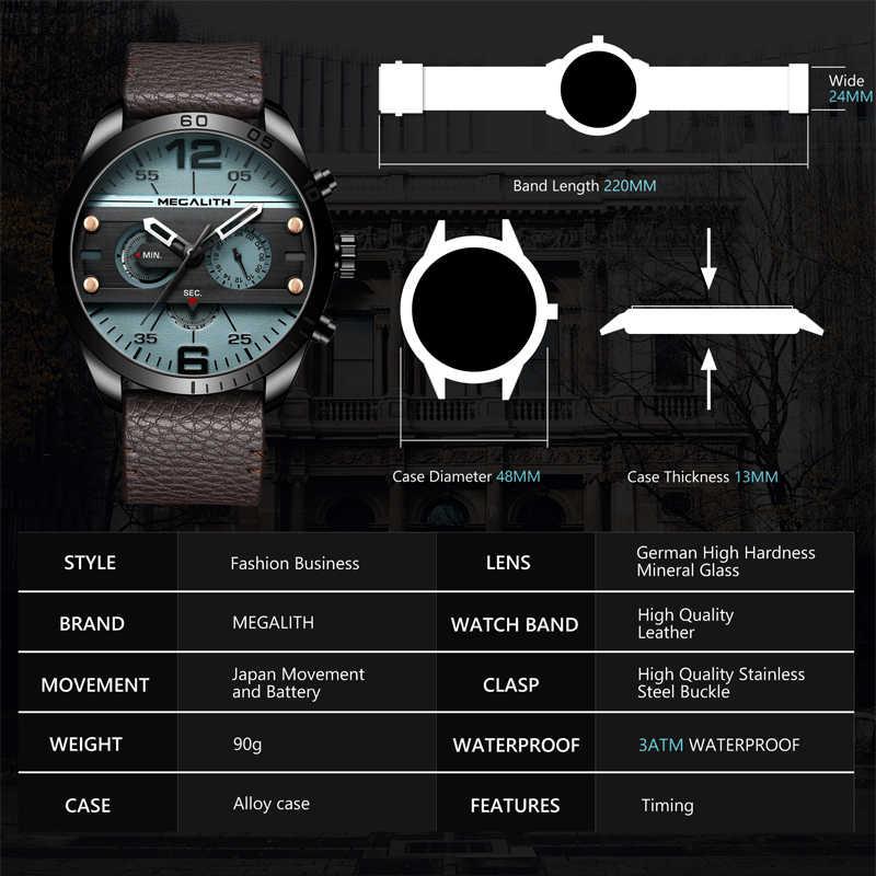 MEGALITH אופנה ספורט גברים של שעון גברים עמיד למים תכליתי Militray עור רצועת קוורץ גברים שעון שעון Relogio Masculino
