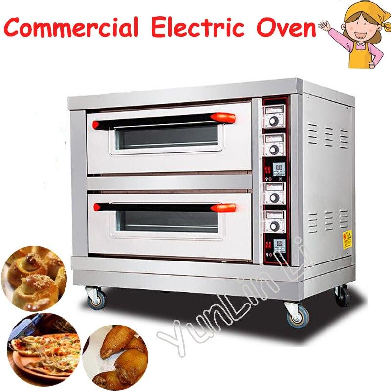 220 V Commercial four électrique 6400 W Double couches Double plaques cuisson four 220 V pain gâteau Pizza cuisson Machine BND2-2