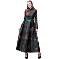 Embroidery Chinese Style Vintage Black Dres Womens Evening Photography Dress Wedding Party Ball Gown Full Length Dress DL1051