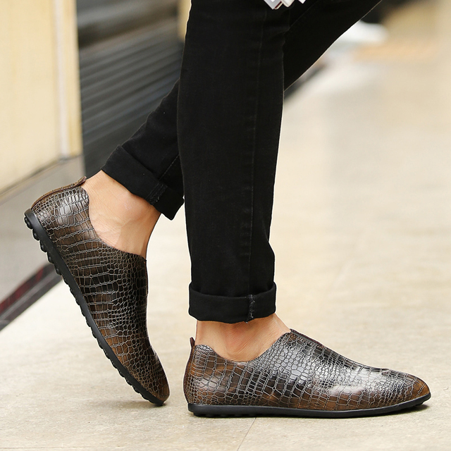 LuoDiRam Brand 2017 New Crocodile Style Genuine Leather Men Shoes, High Quality Leather Men Casual Shoes