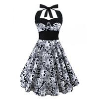 5XL Large Size Full Skull Printed Dress Women Punk Rock Strapless Halter Party Dresses Bowknot Self