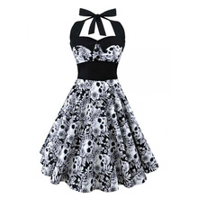 5XL Large size skull printed dress Women punk strapless halter party dresses Bowknot self gothic dress clothing Swing 1950s 60s