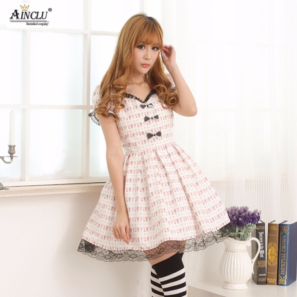 Ainclu Women's White Polyester Circus Black Lace Printing Princess Printing Lolita Dress