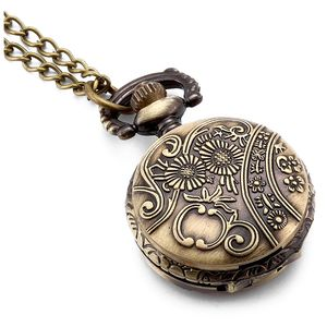 Practical Antique Horses Locket Pocket Watch Quartz White Dial Arabic Numerals Full Hunter Sweater Necklace