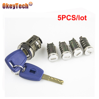 OkeyTech 5 adet tam Set araba anahtarı kontak kapı bagaj kilidi yedek varil silindir kilidi Fiat yedek parça kilidi SIP22 anahtar