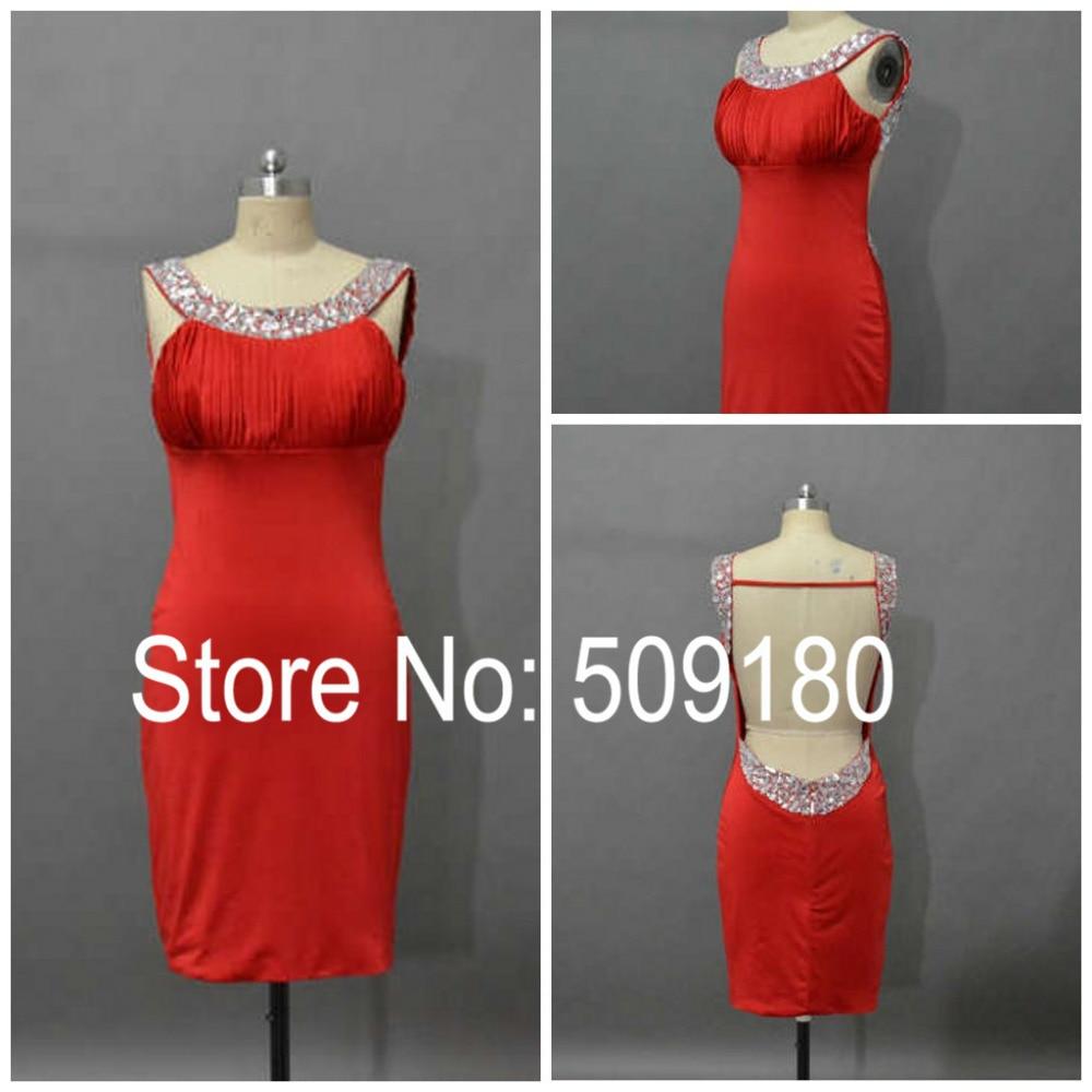 Sexy Alta Calidad Rojo Backless Por Encargo Corto Longitud de La Rodilla Vestido