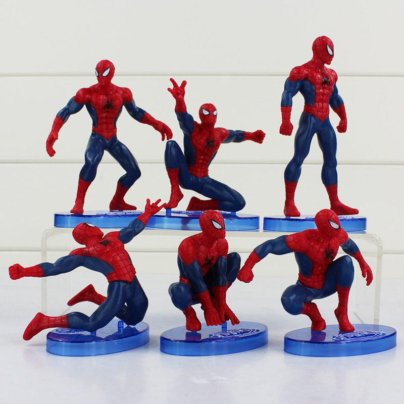 6Pcs/Set <font><b>Spider-Man</b></font> Figure The Avengers Spider Man PVC Action Figure Toys 7-12.5cm Great Gift Free Shipping