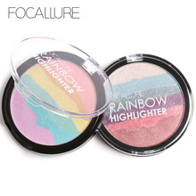 FOCALLURE Pro DIY Rainbow Highlighter Powder Palette Bronzer Contour Soft Mineral Face Highlighter Makeup Palette Kit