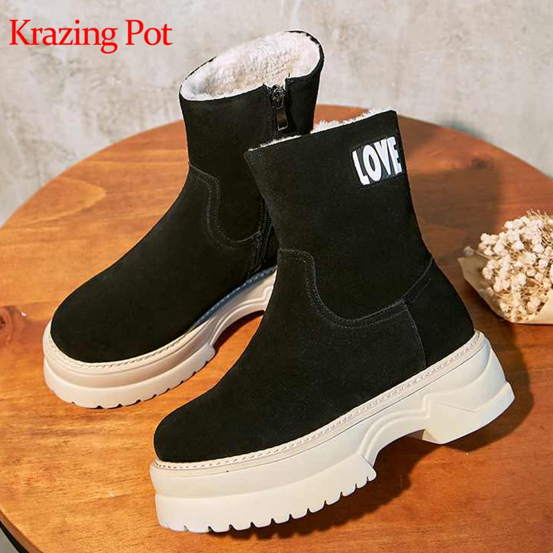 Krazing pot new cow suede round toe zipper platform keep warm alphabet decoration superstar super cold protection snow boots L67Krazing pot new cow suede round toe zipper platform keep warm alphabet decoration superstar super cold protection snow boots L67