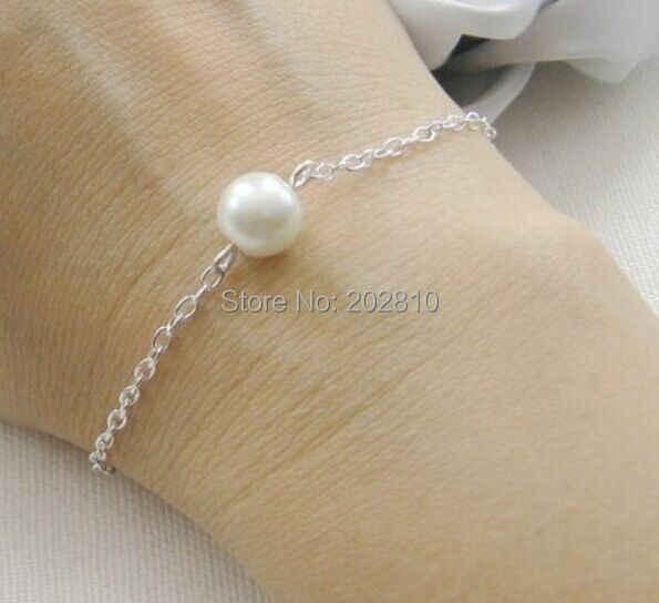 Simple single pearl สร้อยข้อมือ gold - สี, fine quanlity bridesmaids pearl chain & link สร้อยข้อมือ, เครื่องประดับงานแต่งงานสำหรับ 2019