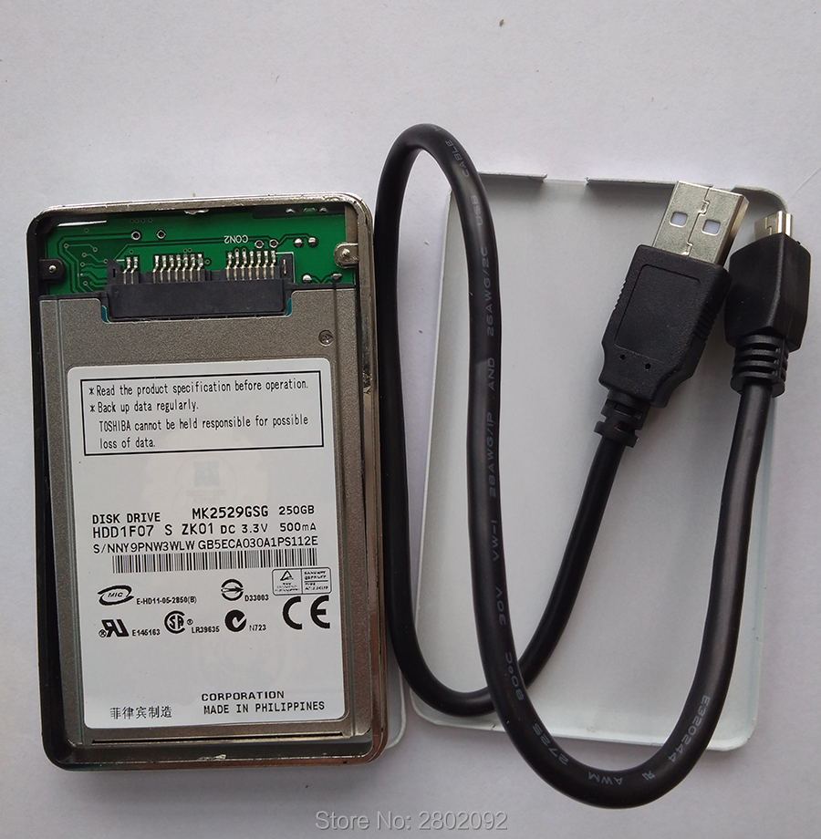 NEW 250GB HDD 1.8 MicroSATA MK2529GSG AND A mobile hard disk box FOR HP 2740p 2730p 2530p 2540p IBM x300 x301 T400S T410S image