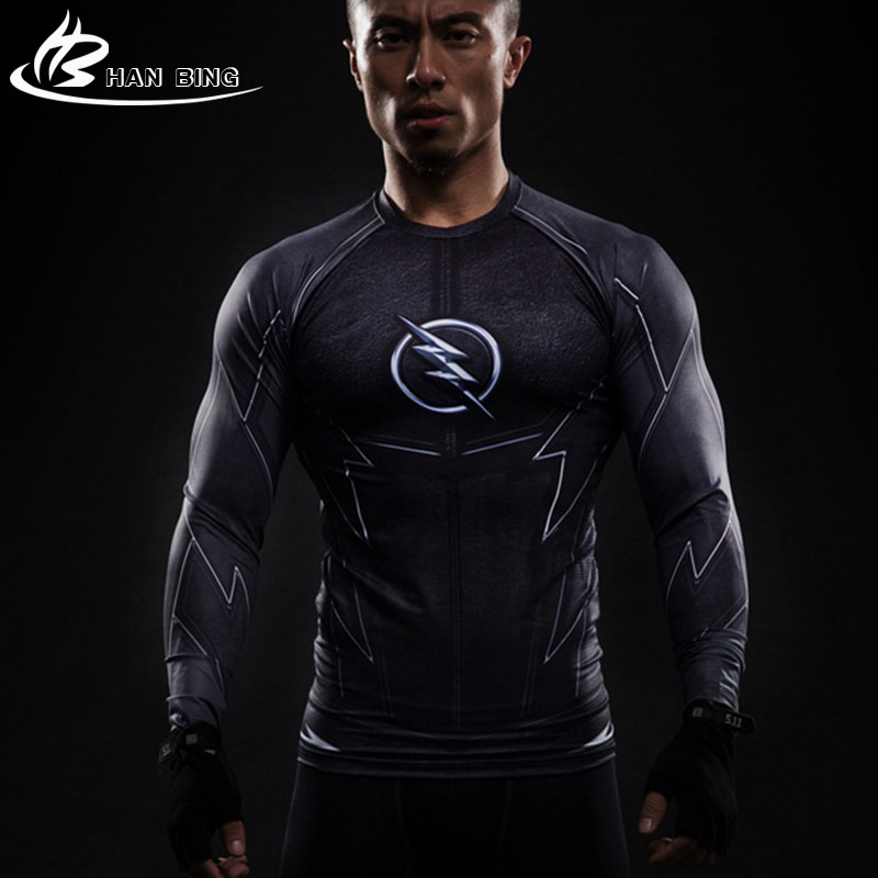Black Lightning 3 D Printed T-shirts Men Long Sleeve Compression Shirt Flash Cosplay Costume crossfit fitness Clothing Tops Male