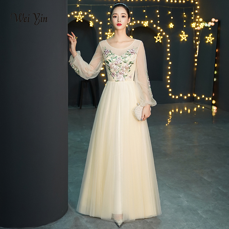 weiyin 2019 New Champange Embroidery Long   Evening     Dress   The Bride Banquet Elegant Long Sleeve Floor-length Prom Party Gowns
