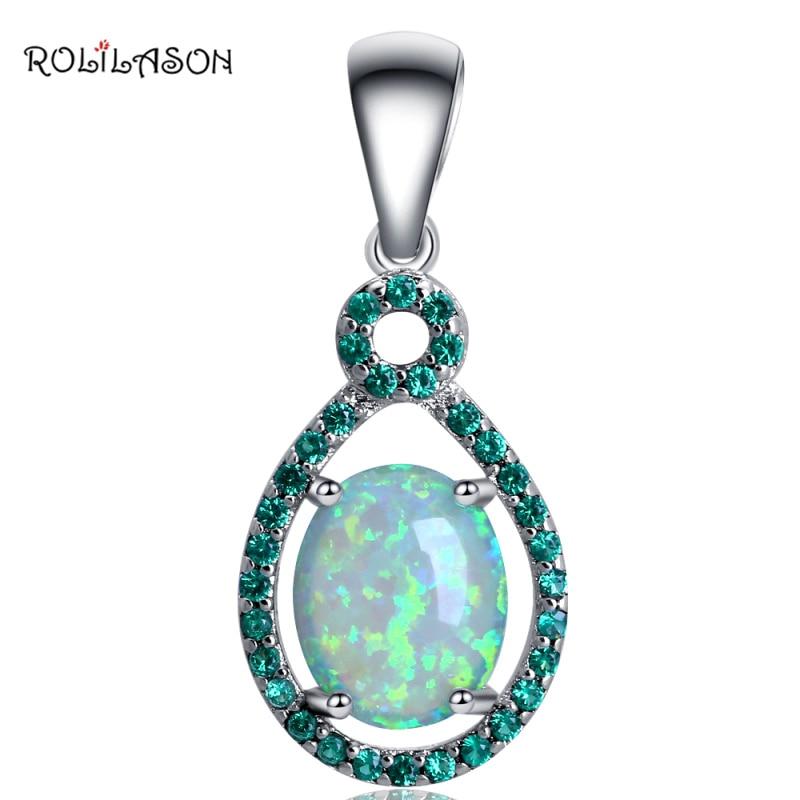 ROLILASON جديد قطرة الماء الأخضر الزركون الأزياء والمجوهرات الأخضر النار العقيق فضة الأزياء القلائد المعلقات للنساء OPS729
