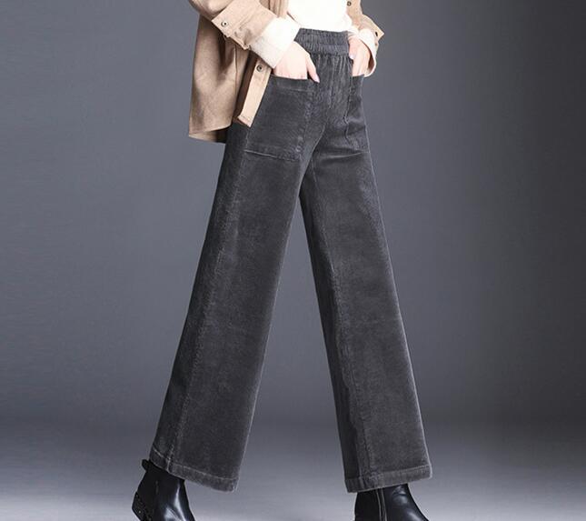 Taille Mode Occasionnels En Plus Jdk0804 noir p3 Large ardoisé Nouvelle Jambe p2 La vert Pantalon Velours P1 Noir Vert Gris Élastique Capris Automne Printemps Côtelé Femmes 7A6wz0xn