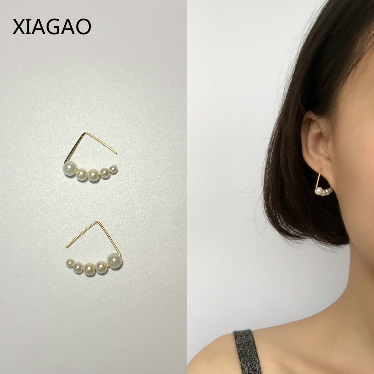 XIAGAO 2017 Simple Trendy Triangle Drop Earrings for Women with 5 Pearls Costume Jewelery Earrings Wedding Party Earring CNE033 ...