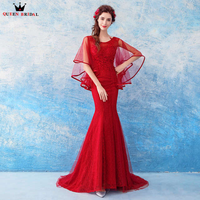 685b550968d6 Mermaid Cape Lace Wine Red Sexy Long Formal Evening Dresses 2018 New Design  Party Prom Gowns