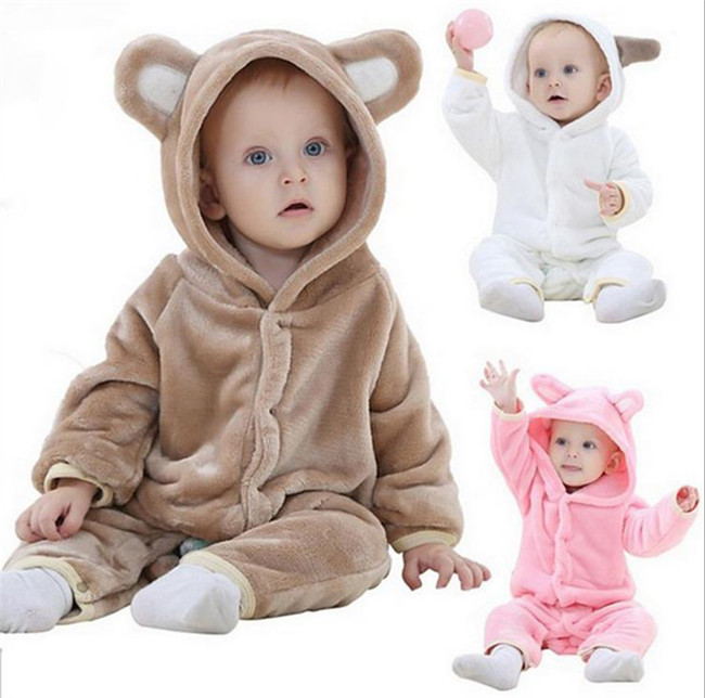 Warm Baby Girls Boys Jumpsuit Autumn&Winter Newborn Toddler Clothing Newborn Coral Fleece Long Sleeve Hooded Romper