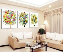 Drop Shipping Multicolor Tree Landscape Canvas Painting 3 Piece Cuadros Decoracion By Numbers Wall Picture Room