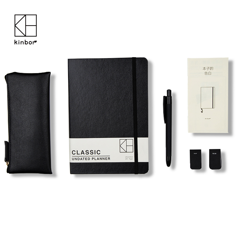 ФОТО Kinbor Business A5 Planner Set With A Pencil Bag&Ball Point Pen Delicate Gift Fancy Black Hardcover Notebook DTB2001-