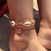 2019 Summer Beach Natural Shell Ankle Anklets For Women Barefoot Sandals Handmade Red Rope On Leg Anklet Boho Foot Jewelry