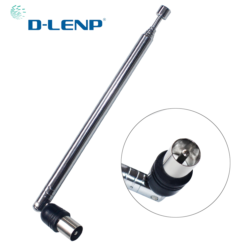 Dlenp 15dbi Telescopic TV Antenna HDTV AERIAL Radio DVD Antenna 7 Sections IEC Male Connector