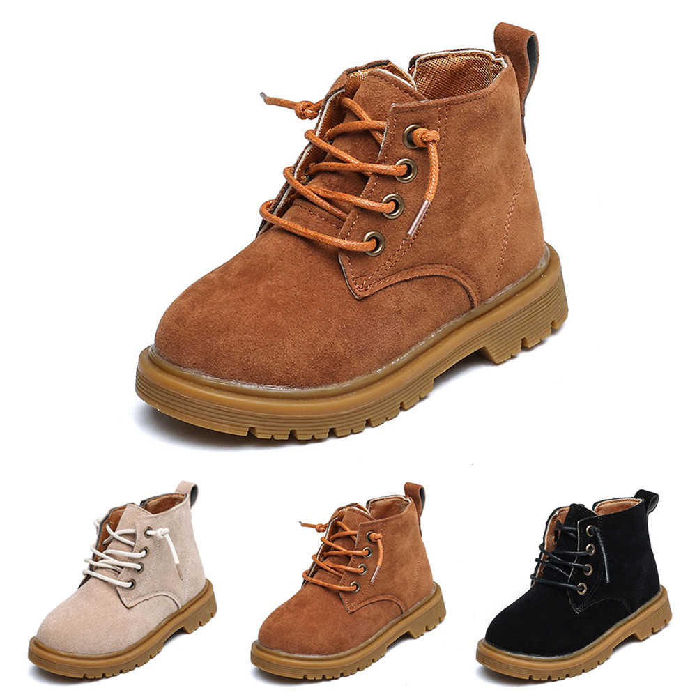 1 Pair Fashion Zip Design PU Leather Martin Boots Kids Shoes Boys Girls Rubber Sole Casual Shoes Size 26-35