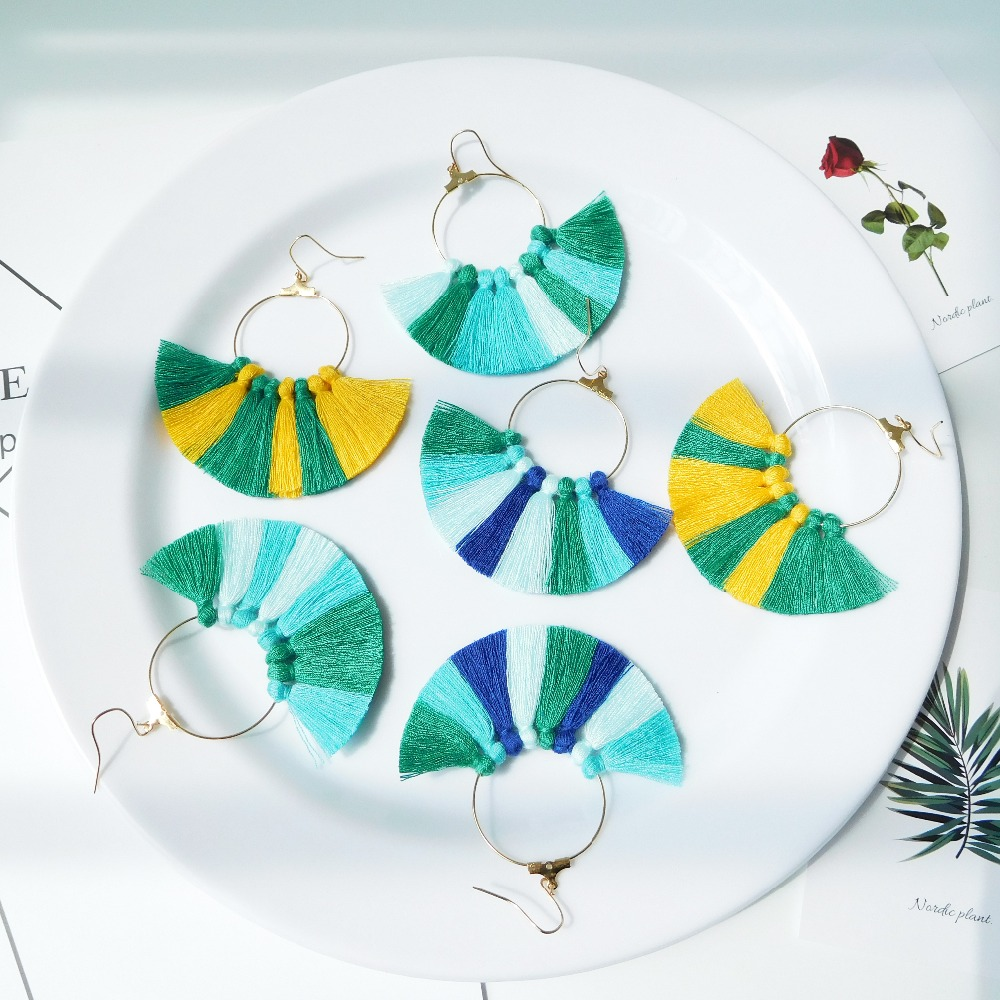HC 22 Colors Women Handmade Tassel Earrings Bohemia Jewelry Fashion Fringe Rope Earrings Vintage Big Statement Drop Earrings W