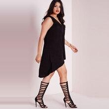 สตรีขนาดบวกฤดูร้อนแฟชั่นชุดเซ็กซี่ลึกคอวีหลวมมินิชีฟองแขนกุดL Argขนาดสง่างามสีดำเสื้อผ้า