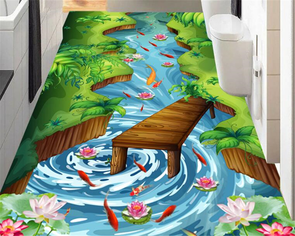 beibehang Fashion high aesthetic beautiful wallpaper creek river lotus flower pool stereo floor painting 3d flooring wall paper