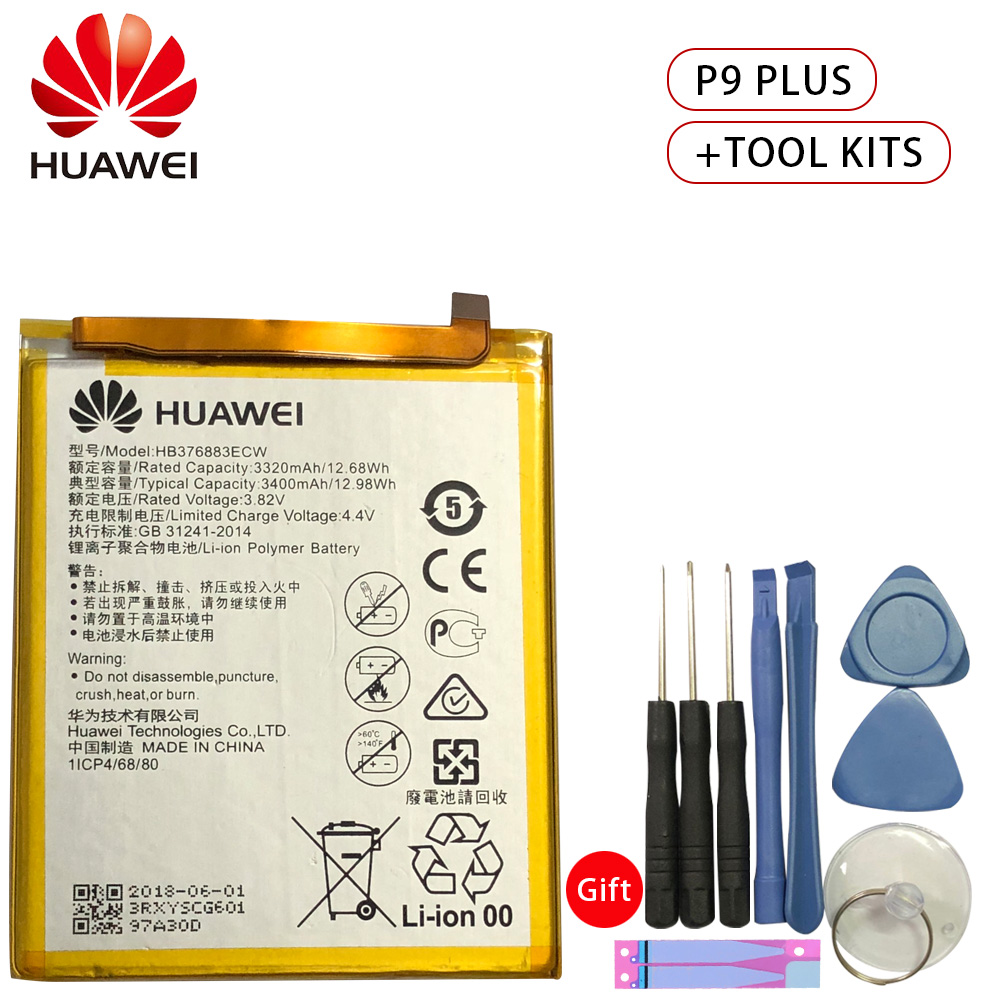 Hua Wei Original Phone Battery HB376883ECW For Huawei Ascend P9 Plus VIE AL10 3400mAh Replacement batteries Free Tools in Mobile Phone Batteries from Cellphones Telecommunications