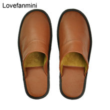 slippers men big sizes Genuine Cow Leather home male indoor house for Men's slippers women man slipper Luxury soft Flat shoes