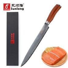 ФОТО sunlong 10 inch sushi knife filleting knives damascus steel slicing knives vg10 steel core pattern steel kitchen knife cleaver
