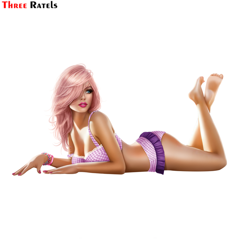 Three Ratels LCS468# 15x7.9cm Sexy Beauty Colorful Car Stickers Funny Car Stickers Styling Removable Decal