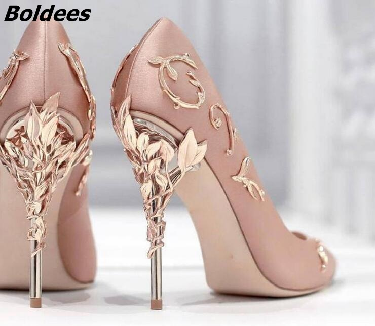 New Arrival Awesome Pink Silk Metal Stiletto High Heel Shoes Women Fancy Metal Branch Decoration Thin Heel Pointy Pumps Hot Sell