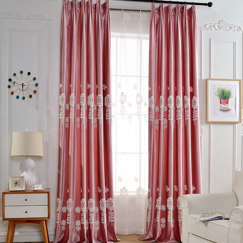 Huayin Velvet Linen Curtains Tulle Window Curtain For: Pink Blackout Curtain Night Curtains White Embroidered